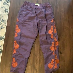Anthropologie Pull On Purple Embroidered Pant S